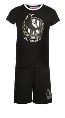 Boys & Girls Pjs 6-14 AFL Official Collingwood Magpies Summer Short Pyjamas