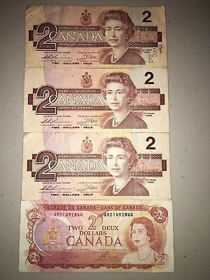 Lot of $2 Dollar Bank Notes Canada 1974/1986 - Circulated ARD1492844