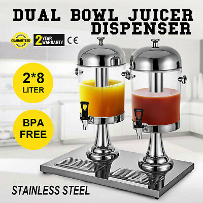 2 Pack Silver 4.2Gallon Stainless Iced Tea Punch Juice Beverage Drink Dispenser