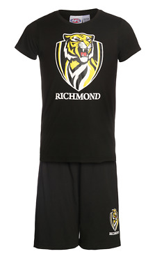 Boys & Girls Pjs 12-14 AFL Official Richmond Tigers Summer Short Pyjamas