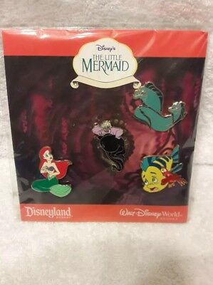 DISNEY THE LITTLE MERMAID PIN SET BOOSTER COLLECTION 4 PINS NWT Sealed