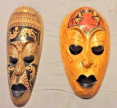 2 Tribal Masks w/ Lizard Lg Wooden Hand Carved & Painted Bali Indonesia pair lot