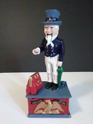 UNCLE SAM Patriotic America Mechanical Penny Bank Toy Collectible NIB