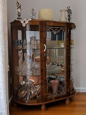 Crystal Display Cabinet Mirror Backed