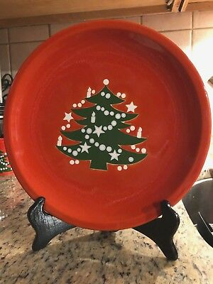"New Waechtersbach  Red Christmas Tree 10""  Dinner Plates W Germany"