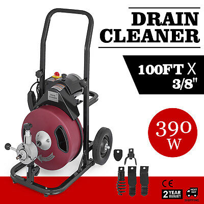 """Commercial 100FT 3/8"""" Electric Drain Auger Drain Cleaner Machine Snake w/ Cutter"""
