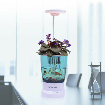 Mini Smart Self-cleaning Aquaponic Fish Tank With Hydroponic Plant and Desk Lamp