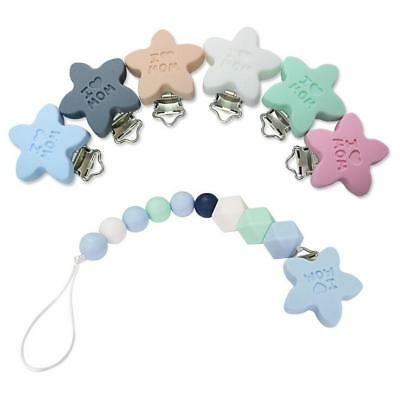 DIY 1X Food grade Silicone Star Baby Pacifier Clip Baby Teething Chew Toys