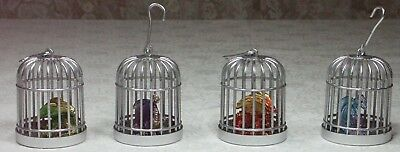 Set of 4 Dragon in Cage Miniature All Different Poly Resin & Metal 9cm H NEW