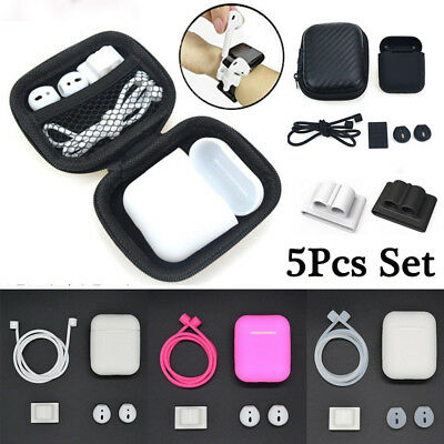For AirPods Accessories Silicone Cover Case+Anti Lost Strap+Ear Cover Hook Set