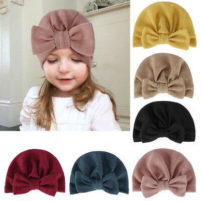 Baby Toddler Kid Boy Girl Big Bowknot Solid Color Beanie Hat Turban Cap Intrig