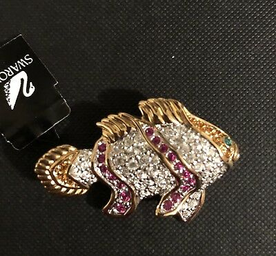 Signed Swarovski Exotic Fish Brooch Gold Tone w/ Clear Pave and Pink Crystals