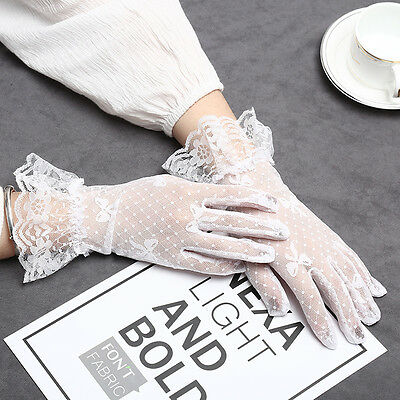 New Lace Short Gloves Elegant Lady Party Wedding Wrist Driving Gloves Textured