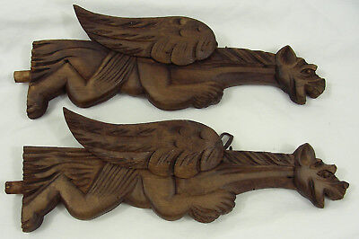 pair of French Antique  Wood dragon  Griffins corbels n°2