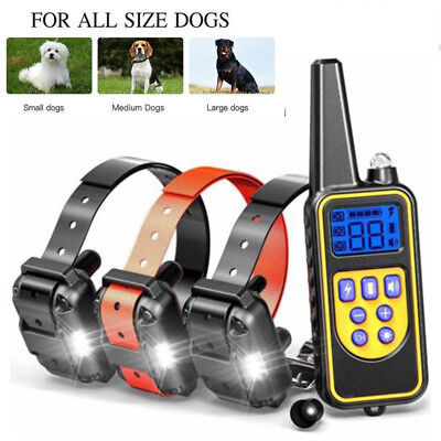 800M Dog Shock Training Collar Remote Rechargeable LCD Anti-Bark For S M L Dogs