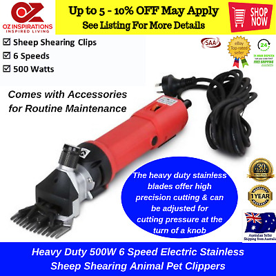 Heavy Duty 500W 6 Speed Electric Stainless Sheep Shearing Animal Pet Clippers