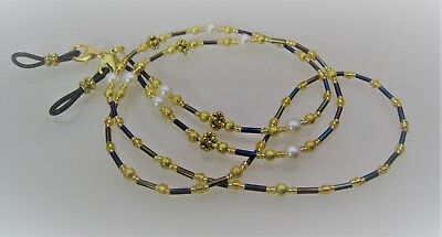 Beaded Spectacle Chain Glasses Eyewear Purple Gold Pearl Handcrafted  18S115