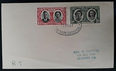 1947 Southern Rhodesia Cover ties set of Royal Visit stamps with cachet