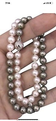 Certified $4,950 Akoya 8 Mm 14Kt 18 In Pearl Custom Hi Fashion Diamond Necklace