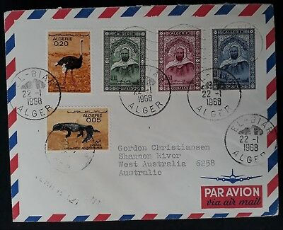 1968 Algeria Airmail Cover ties 5 stamps canc El Biar to Australia