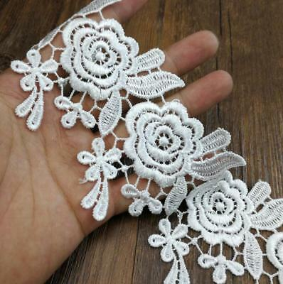 DIY 2 Yards embroidery Rose lace Wedding dress Sewing decoration Home Curtain