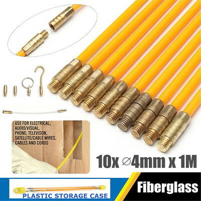 10X 4mm 1M Fiberglass Cable Rod Electrical Push Puller Duct Rodder Fish Tape Kit
