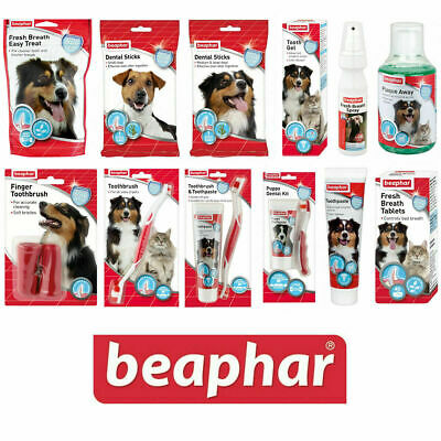 Beaphar Dog & Cat Dental Sticks Toothbrush Toothpaste Fresh Breath Spray Treats