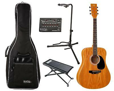 e8e132ea946 Acoustic Western Guitar Dreadnought Design Kit Set Gigbag Tuner Stand  Footrest