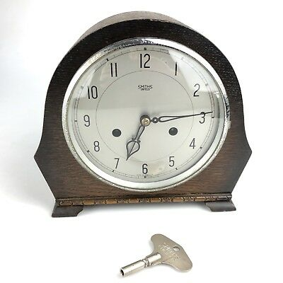 Smiths Enfield Clock Co. Wooden Mantle 8 Day Clock w/ Key *SPARES or REPAIR*