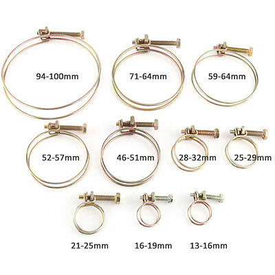 10Pc Adjustable Double Wire Hose Clamp Pipe Clip SS Steel Hoop Plumbing Fastener