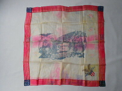"Antique World War 1 Silk ""Remember Me""Handkerchief"