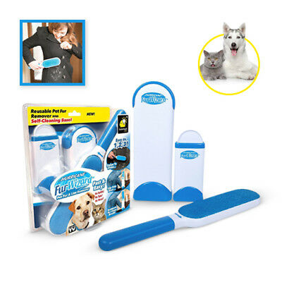 Pet Fur Lint Remover Wizard Self-Cleaning Base Reusable Clothes Fabric Brush UK