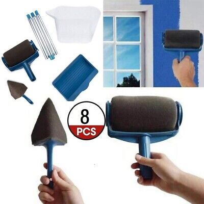 8x Paint Runner Pro Renovator Handle Tool Roller Room Wall Flachpinsel Brush Set