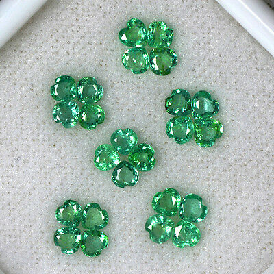 2.82 Cts Natural Green Emerald Gems Heart Cut Lot Untreated Zambia 3.5 mm Sale