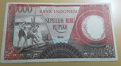 INDONESIA 10.000 Rupiah 1964 Fishermen Floating Houses Red REPLACEMENT XF++