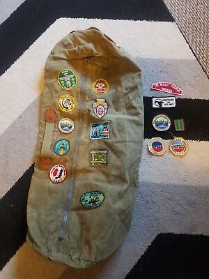 Boy Scout Camping Duffle Bag Vintage over 3 feet long with 60s badges patches