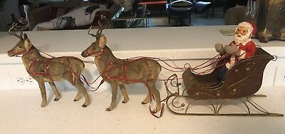 Antique German SANTA CLAUS Riding in a SLEIGH with LARGE REINDEER