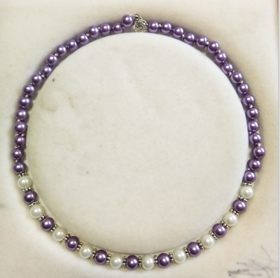 8mm purple/white South Sea Shell Pearl Beautiful necklace AAA 18 inches Set 02