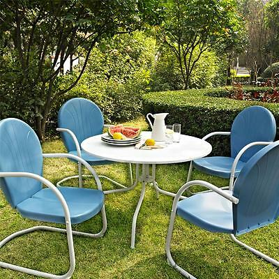 Blue White OUTDOOR METAL RETRO 5 PIECE DINING TABLE & CHAIRS SET Patio Furniture