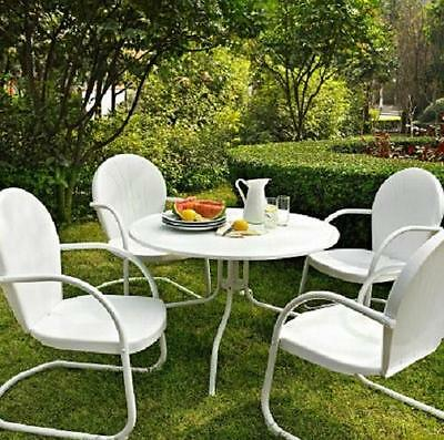 White OUTDOOR METAL RETRO 5 PIECE DINING TABLE & CHAIRS SET Patio Furniture