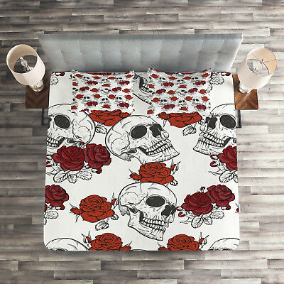 Halloween Quilted Coverlet & Pillow Shams Set, Roses Gothic Skull Print