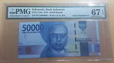 Indonesia 50000 Rupiah 2016 Unlisted Serial Number 8 Pmg 67 Epq