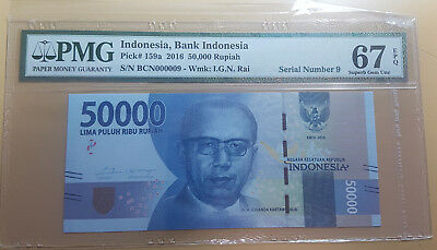 Indonesia 50000 Rupiah 2016 Unlisted Serial Number 9 Pmg 67 Epq