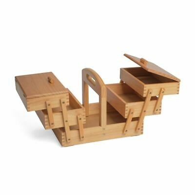 Wood Cantilever Sewing Box: 3 Tier