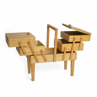 *NEW* Wood Cantilever Sewing Box: 3 Tier with legs