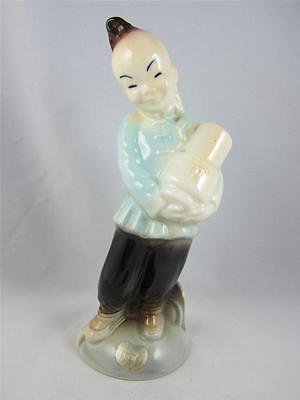 Rare Blue Vintage Royal Copley Art Pottery Asian Chinese Oriental Boy Figurine