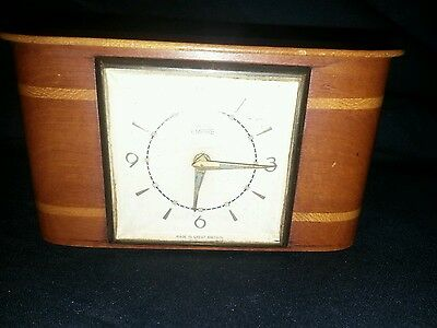 "Vintage Smiths Empire Mantle Clock banded wood case 5.5"" long"