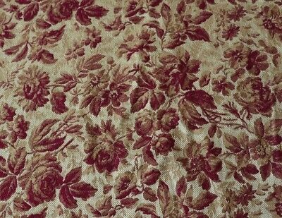 "Beautiful Antique French Rose Jacquard Tapestry Fabric~Silk & Wool c1860~48""X23"""