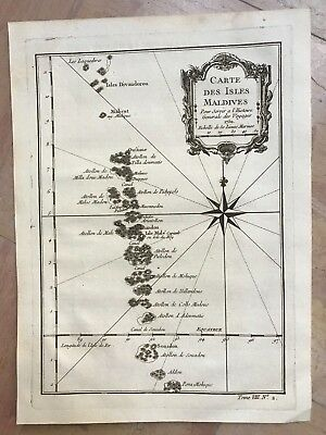 Maldives Islands Dated 1750 Nicolas Bellin Antique Engraved Map 18Th Century