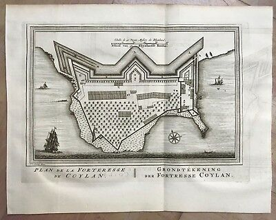 India Kolam Fort Kerala 1757 By Bellin / Schley Antique Engraved Plan